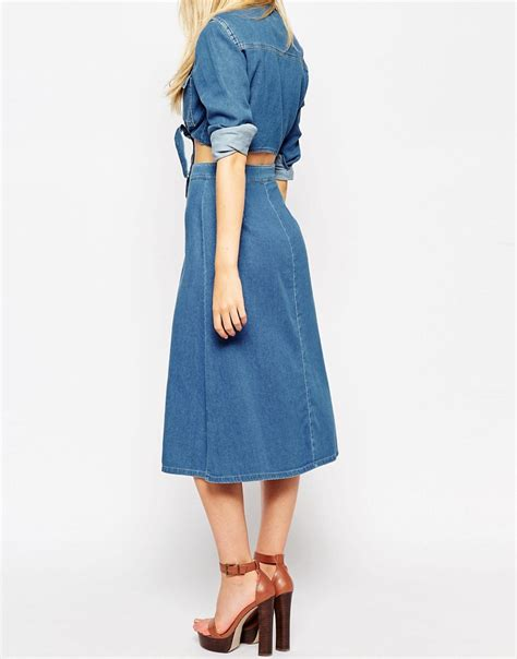asos asos denim button through western midi skirt at asos