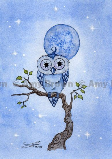 Owl Limited 3 4 sold out blue moon owl limited edition print by by