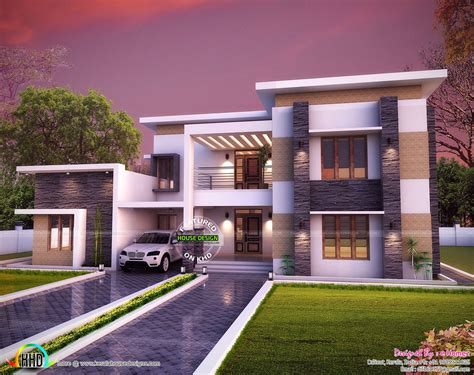 flat home design 3654 sq ft flat roof house plan kerala home design and