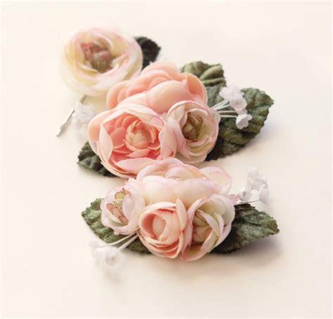 Flower Headpiece Set pastel flower clip set ranunculus hair pink flower