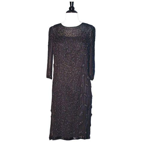 chagne beaded dress beaded flapper dress black silk chiffon heavily