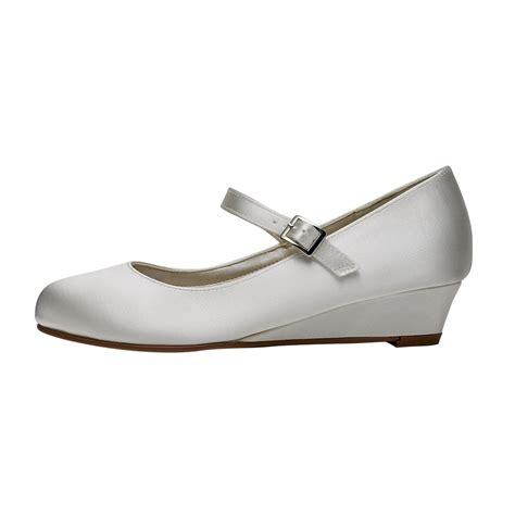 ivory satin shoes rainbow club skyla ivory satin wedge shoes shoes co uk
