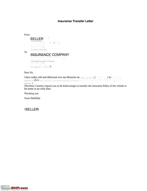 Bike Insurance Transfer Letter Format Sle Vehicle Transfer Letter Format Cover Letter Templates