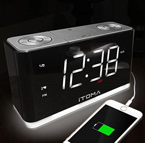 auto dimming night light itoma alarm clock with fm radio dual alarm usb charging