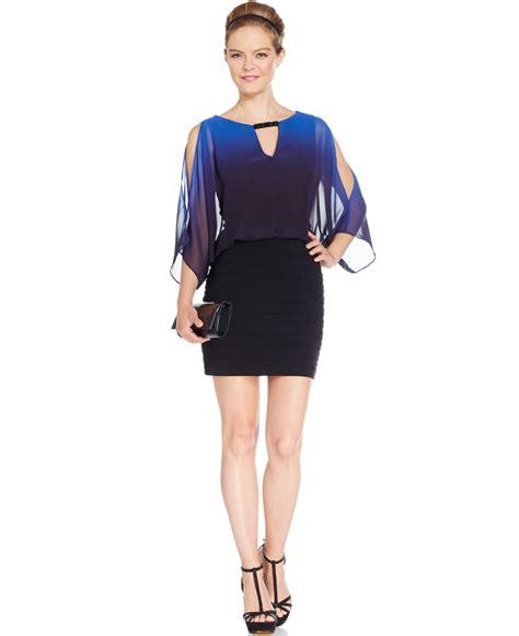Sleeve Tiered Dress xscape split sleeve blouson tiered dress in black lyst