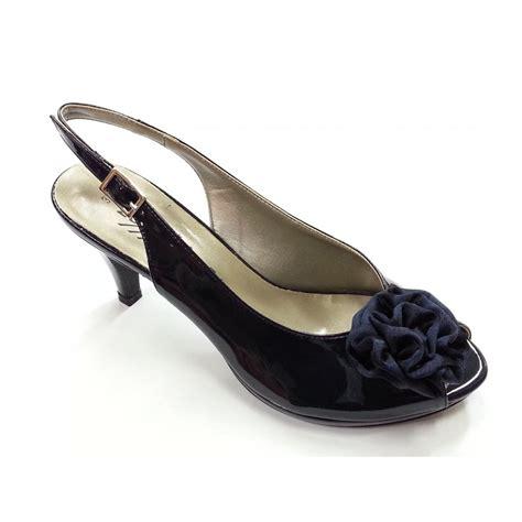 back shoes e026s navy patent peep toe sling back shoe