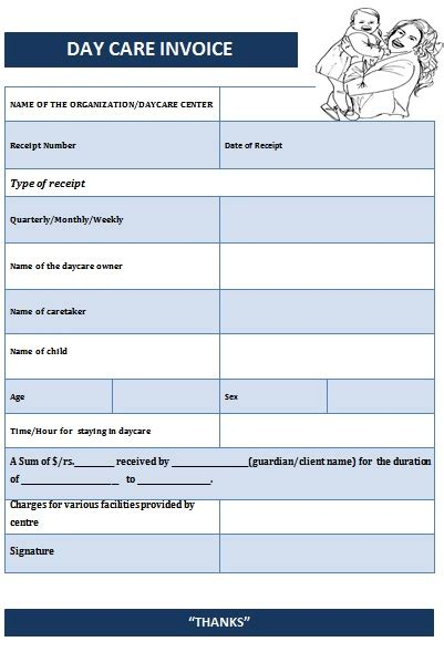 caregiver receipt template 10 best images of caregiver receipt template day care