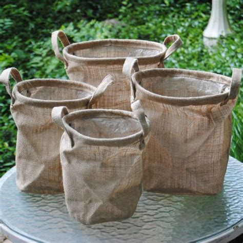 Burlap Bag Planter by Burlap Bordeaux Buckets W Handles Set Of 4 Burlap