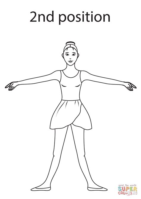ballet 2nd position coloring page free printable