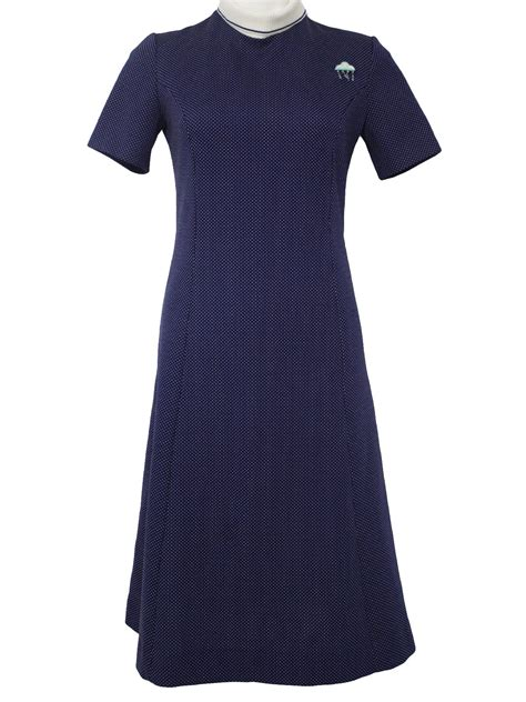 Knit Princess Dress Navy seventies hob dress 70s hob nobber womens navy blue and white polyester knit sleeve mid