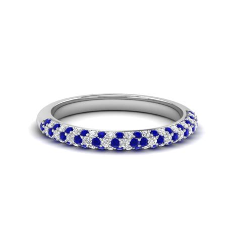 womens sapphire wedding bands trio micropave womens wedding band with blue
