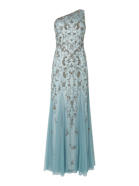 one shoulder beaded gown papell one shoulder beaded gown in blue lyst