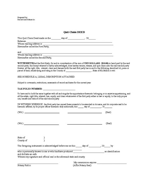 quitclaim deed template florida free download