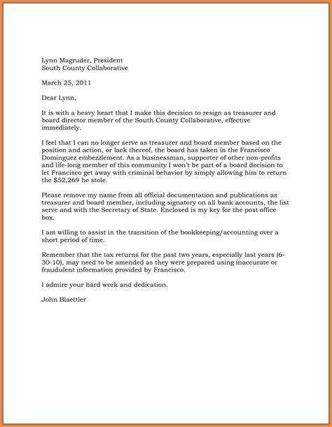 Resignation Letter From A Board by 5 Effective Immediately Resignation Letter Exles Bussines 2017