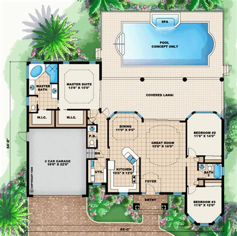 floor plans for homes with pools dream house plan pool included from coolhouseplans com