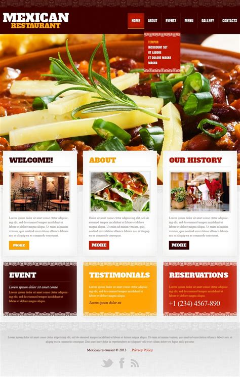 free templates for restaurant website mexican restaurant website template 42181