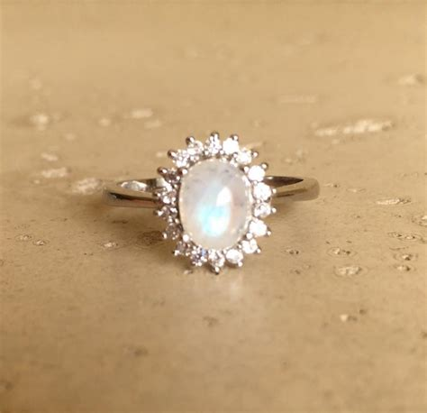 oval halo moonstone engagement ring promise ring june
