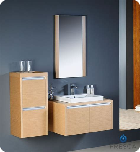 fresca mirano light oak modern bathroom vanity with a