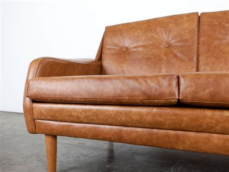 mid century leather loveseat danish mid century brown leather loveseat at 1stdibs