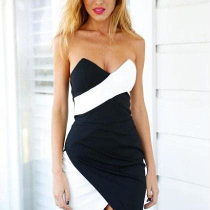 Mixed Color Halter Dress 18760 slim chest wrapped package hip halter dress in black and