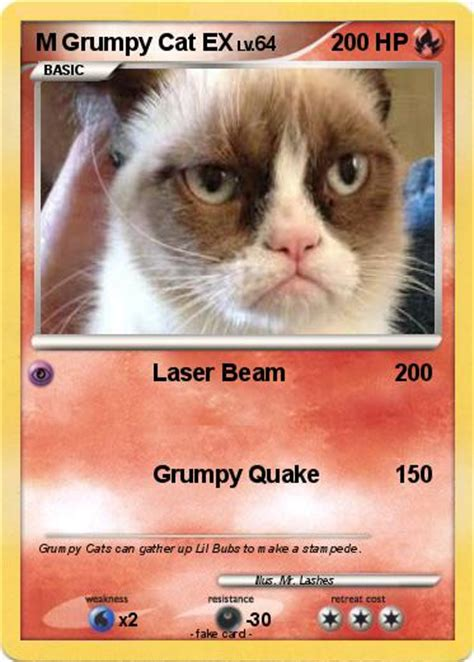 card grumpy cat pok 233 mon m grumpy cat ex laser beam my card