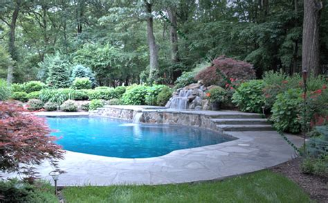 inground pools with waterfalls luxury outdoor swimming pool construction fully