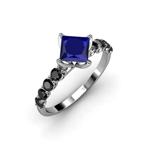 lab created blue sapphire princess cut black