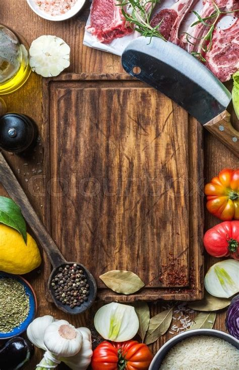 cooking board ingredients for cooking healthy meat dinner raw uncooked