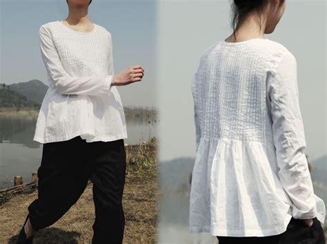 167pintucked white linen blouse handmade linen blouse