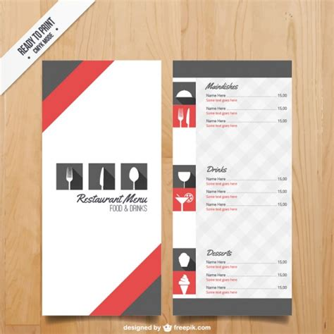 menu template for restaurant vector free download