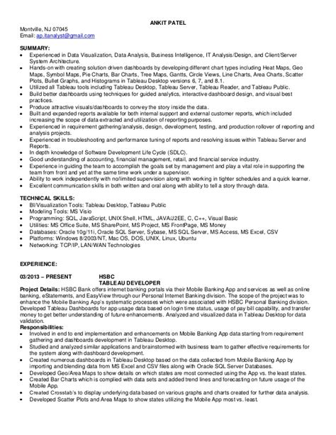 Tableau Developer Resume by Ankit Patel Tableau Developer