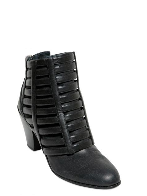 gareth pugh mens boots gareth pugh 50mm cuban heel cage leather ankle boots in