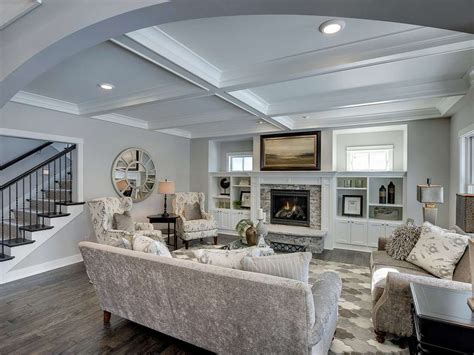 Gray Dining Rooms by Traditional Living Room With High Ceiling Amp Hardwood