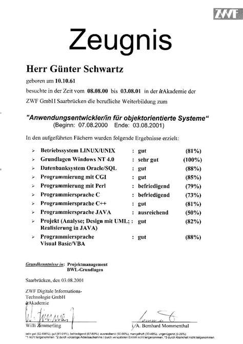 Bewerbung Zeugnisse Bewerbung G 252 Nter Schwartz