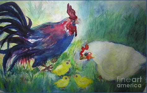 rooster and family painting by valerie cuan