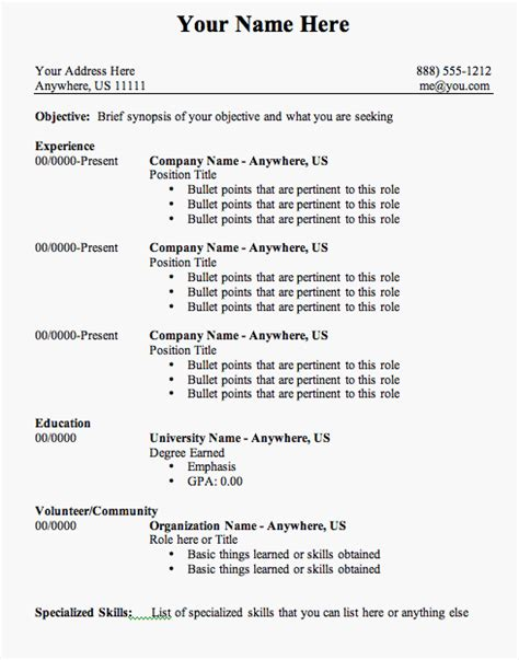 Resume Template Outline by Free Resume Templates