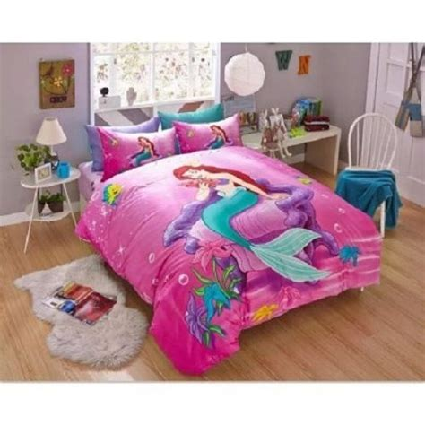 little girls queen size bedding sets twin queen size little mermaid duvet cover bedding set girls kids ebay