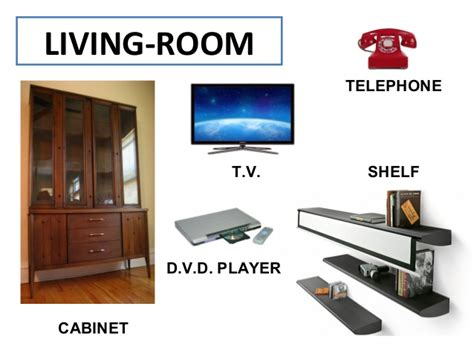 living room parts vocabulary and expressions related with houses