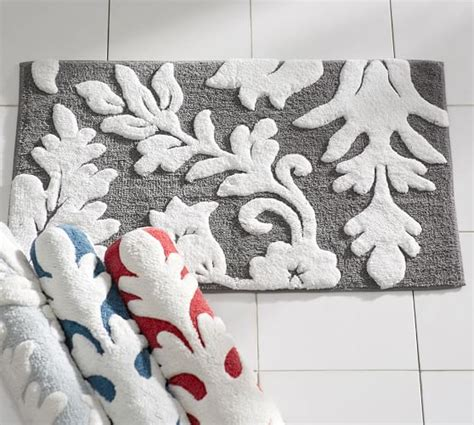 damask bathroom rug damask bath rug pottery barn