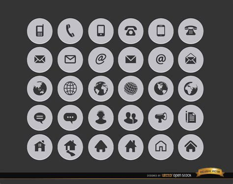 30 internet contact circle icons free vector