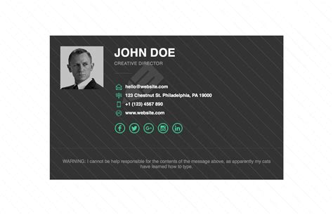 Business Card Signature Template by Free Responsive Html Email Signature Template Email