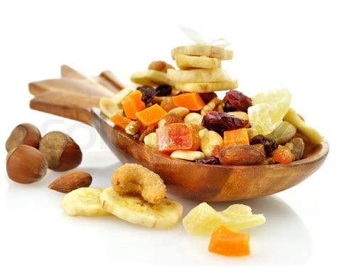 Mixed Dried Fruit fruits mix in a wooden dish stock photo colourbox