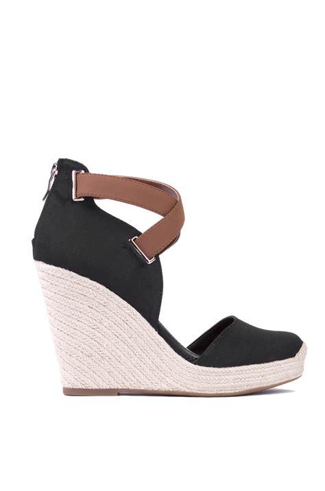 espadrille wedge sandal bcbgeneration glenda espadrille wedge sandal in black in