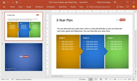 three year strategic plan template create high impact project presentations with slidehunter