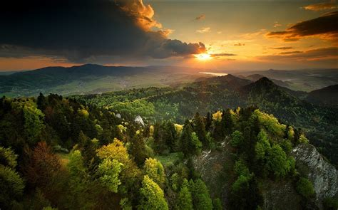 nature landscape spring sunset forest sky mountain