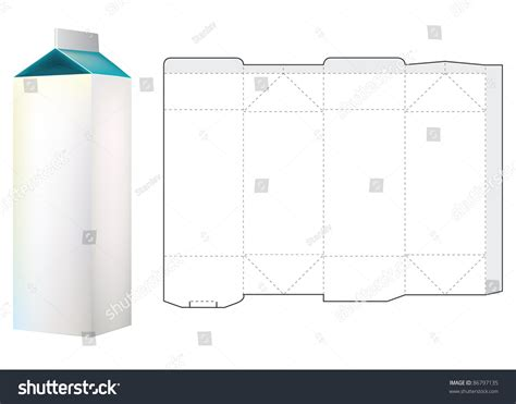 Template Milk Carton Box Stock Vector 86797135 Shutterstock Milk Box Template