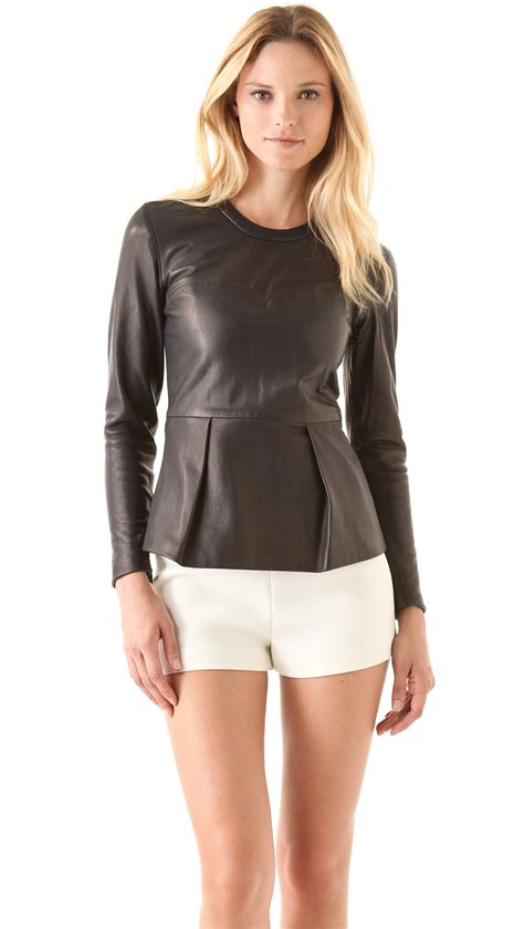 Best Leather by 3 1 Phillip Lim Leather Peplum Top In Brown Lyst
