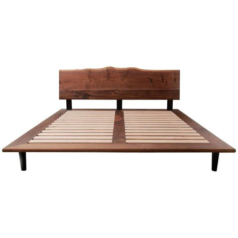 Handcrafted Beds - handcrafted walnut slab platform bed king sized for sale