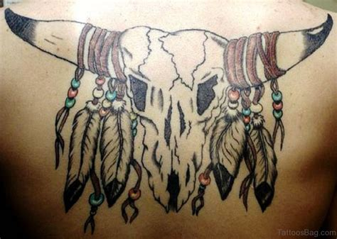 71 Unique Bull Tattoos On Back Bull Skull Tattoos With Feathers