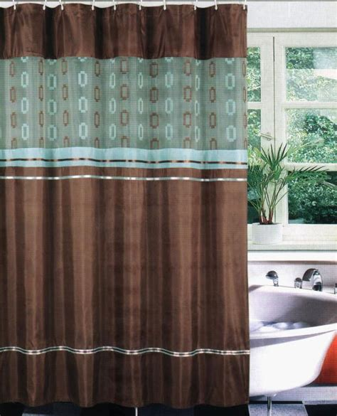 shower curtain and liner set bathtub fabric shower curtain set liner hook teal brown ebay